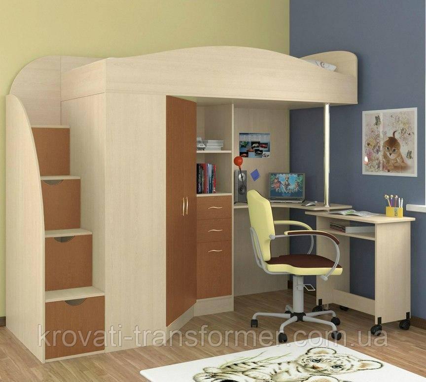 """Кровать чердак со шкафом и столом """"Комби"""" орех+дуб молочный"""