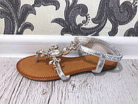Женские босоножки сандали на ничком ходу серебро Виолетта Одесса 7 км со склада прямые поставки