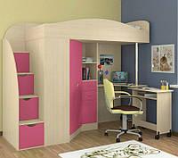 """Кровать чердак со шкафом и столом """"Комби"""" розовый+дуб молочный"""