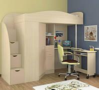 """Кровать чердак со шкафом и столом """"Комби"""" дуб молочный"""