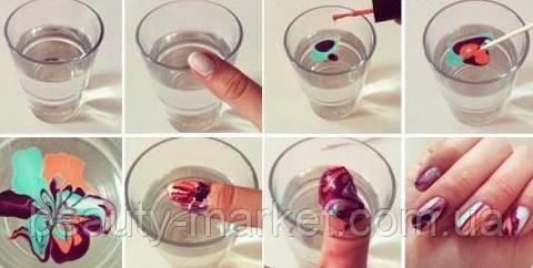 Маникюр с помощью воды.