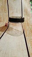 Банка косметическая с винтовой ЧЕРНОЙ крышкой , прочный пластик Объем 180 мл