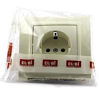 Розетка одинарная с заземлением EL-BI, ZENA Кремовый