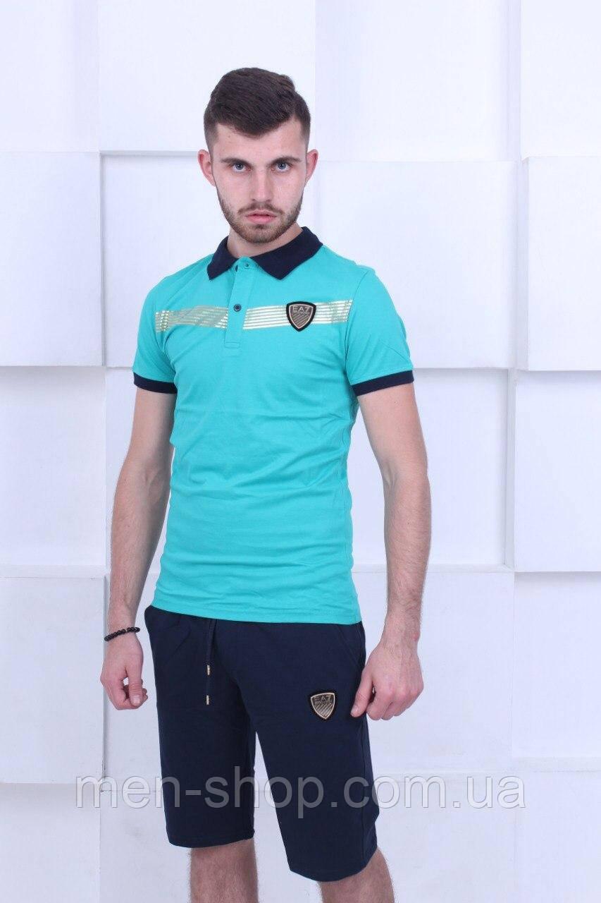 Костюм мужской футболка поло и шорты фирменные Emporio Armani (Армани)