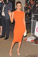 Платье футляр оранжевого цвета из стрейч коттона