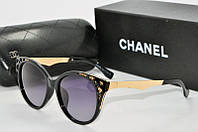 Солнцезащитные очки круглые Chanel черные