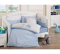 Набор в детскую кроватку с вышивкой Cotton Box Elephant Mavi
