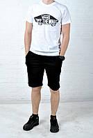 Летний комплект Vans  белая футболка черные шорты