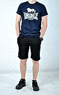 Летний комплект Lonsdale синяя футболка черные шорты