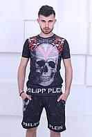 Комплект мужской молодежный летний  в стиле Philipp Plein