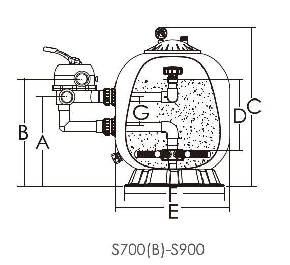 Габаритные размеры песочного фильтра для бассейна Emaux s800
