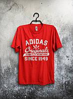 Красная мужская футболка Adidas Originals с белым принтом