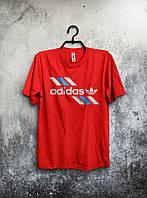 Красная мужская футболка Adidas с оригинальным принтом