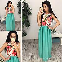 Платье длинное в пол яркое макси с шифоновой юбкой разные расцветки SMb1520