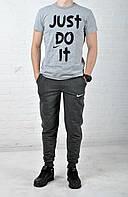Летний комплект Nike Just Do IT серая футболка темно-серые штаны