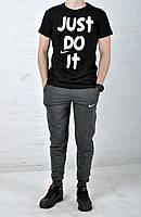 Летний комплект Nike Just Do IT черная футболка темно-серые штаны
