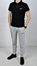 Летний комплект Nike поло черное серые штаны
