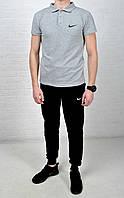 Летний комплект Nike поло серое черные штаны