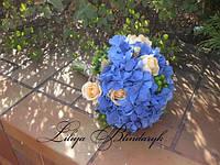 Букет невесты из гортензии, розы и колосков в стиле Рустик