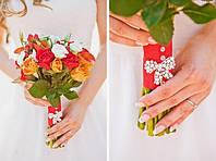 Букет невесты из роз, калл, эустомы и гиперикума