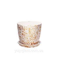 """Горшок цветочный лакированный """"Мрамор белый"""" 0,25л H=8cm D=8,5cm керамический."""