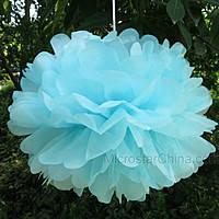 Бумажный помпон для праздника, 25 см. нежно - голубой