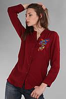 Рубашка женская с вышивкой цветы (реплика) Gucci красного цвета
