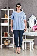 Хлопковая женская блуза полоска p.50-58 V292-01
