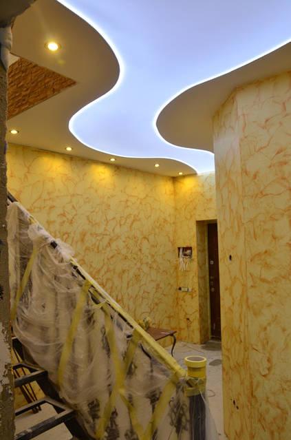 венецианская штукатурка и потолок с внутриней подсветкой