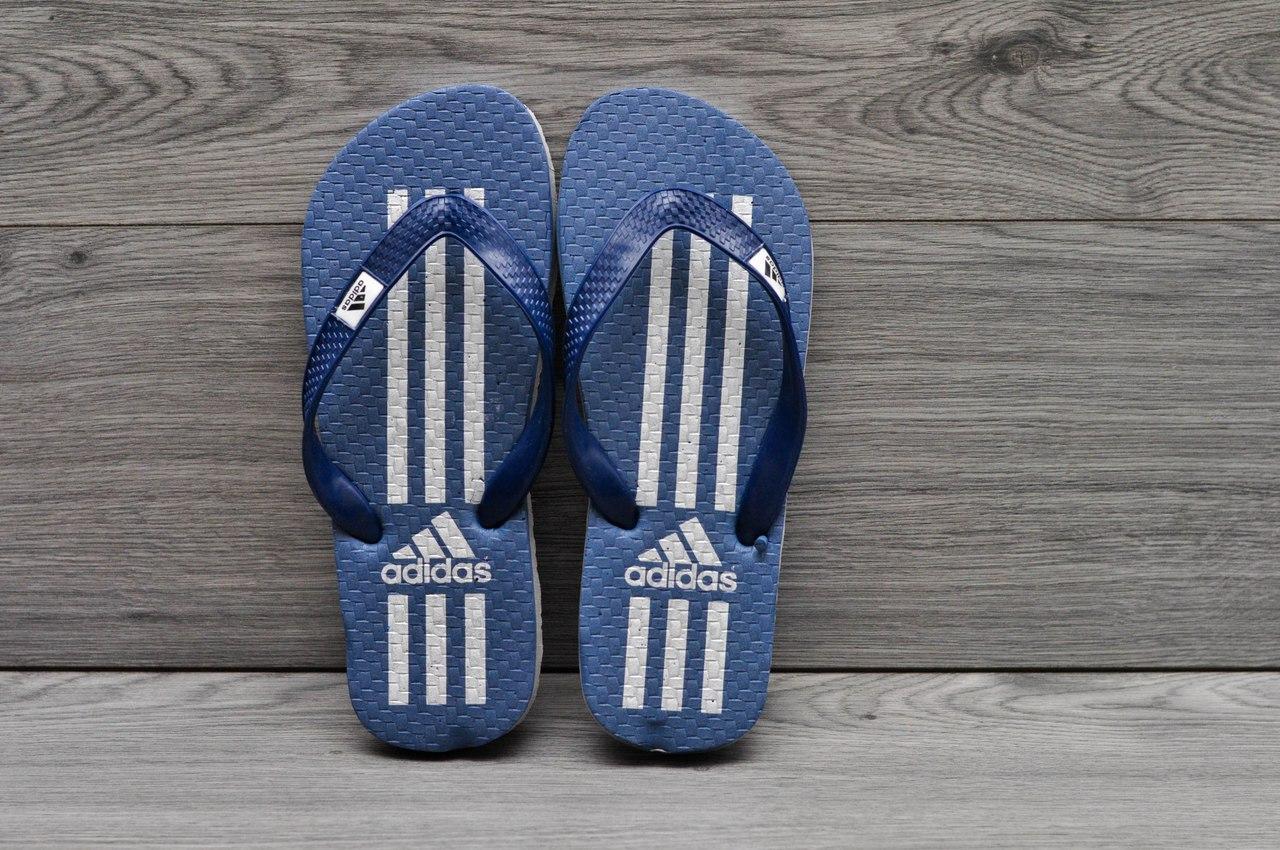 Шлепанцы Adidas, тапочки пляжные синие