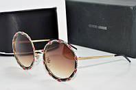 Солнцезащитные очки круглые Armani коричневые