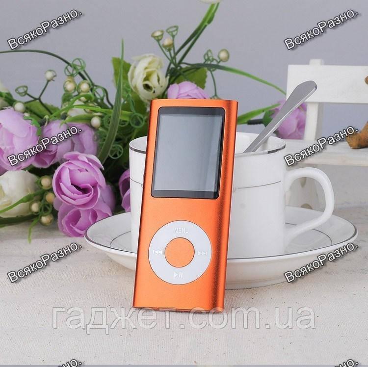 Стильный тонкий MP3 MP4 плеер оранжевого цвета + наушники молния.
