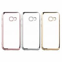 Прозрачный силиконовый чехол с глянцевым ободком для Samsung Galaxy S6 G920F/G920D Duos  розовый