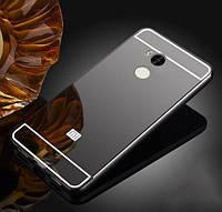 Металлический бампер Mirror с зеркальным вставкой для Xiaomi Redmi 4 Pro (черный)