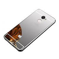 Металлический бампер Mirror с зеркальным вставкой для Xiaomi Redmi 4 (серый)