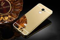 Металлический бампер Mirror с зеркальным вставкой для Xiaomi Redmi 4 (золотой)