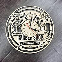 Дизайнерские настенные часы из дерева «Мужская парикмахерская»