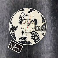 Арт часы настенные из дерева «KISS»