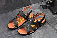 Мужские босоножки Timberland, натуральная кожа, черные /  летние сандалии мужские Тимберленд, модные