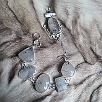 Браслет с  камнем турмалиновый кварц в серебре.