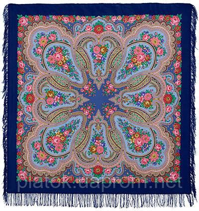 Любава 1289-14, павлопосадский платок шерстяной  с шерстяной бахромой