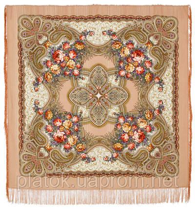 Любви желанная пора 1537-1, павлопосадский платок шерстяной (с просновками) с шелковой бахромой