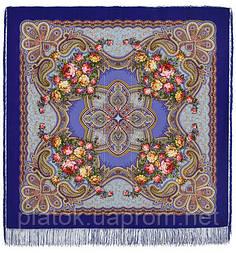 Любви желанная пора 1537-14, павлопосадский платок шерстяной (с просновками) с шелковой бахромой