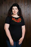 Модная вышитая женская футболка с маками