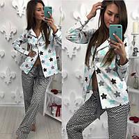 Стильный пижамный костюм для дома и сна: рубашка и брюки (5 цветов) принт-3, XS