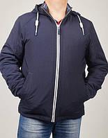 Качественная мужская демисезонная куртка синего цвета с капюшоном