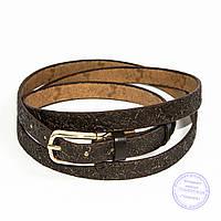 Узкий кожаный ремень коричневый - F-B-3_1