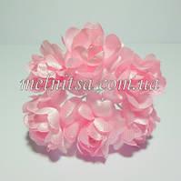 Букетик розочек,  ткань, 2,5 см, 6 шт., цвет нежно-розовый