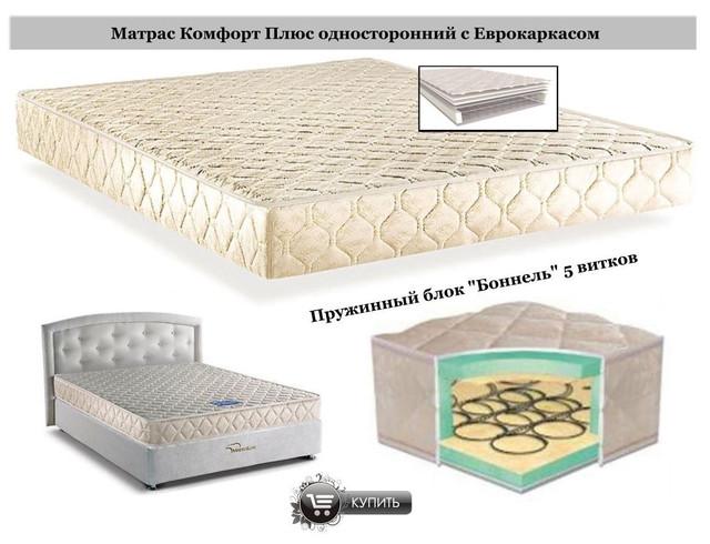 Матрас Комфорт Плюс односторонний с Еврокаркасом (Пружинный блок Боннель) 5 витков