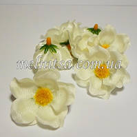 Цветок яблони, 4 см, цвет кремовый, атлас, 1 шт.